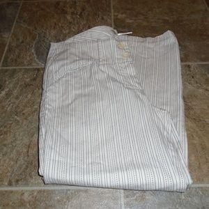 Max Studio Light Khaki Pinstripe Capri Pants